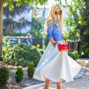 red givenchy bag,asos midi skirt,LA style blogger,brunch outfit idea 2014
