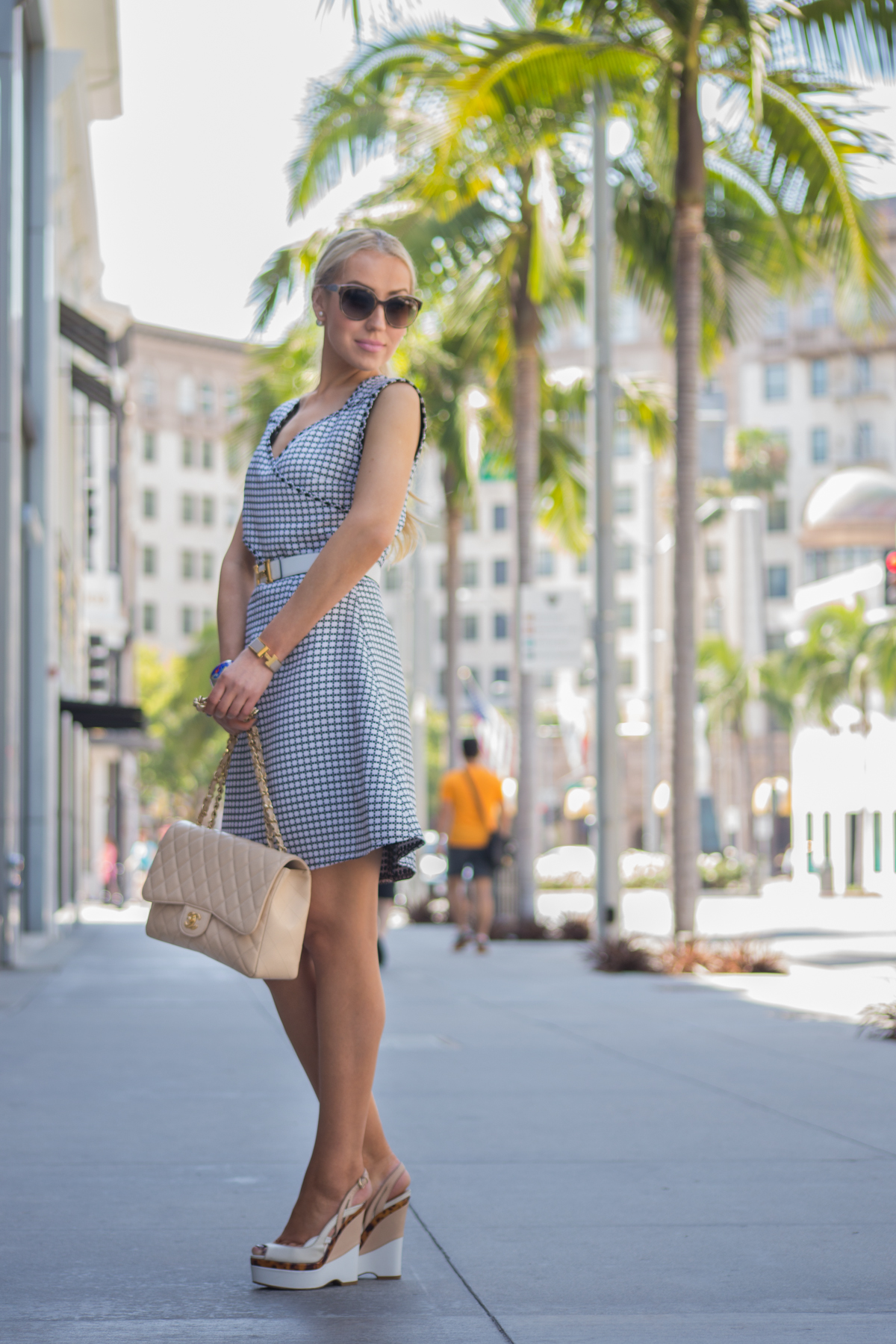 scuba dress,miss en dior,chanel bag,hermes bracelet,pearl accessories
