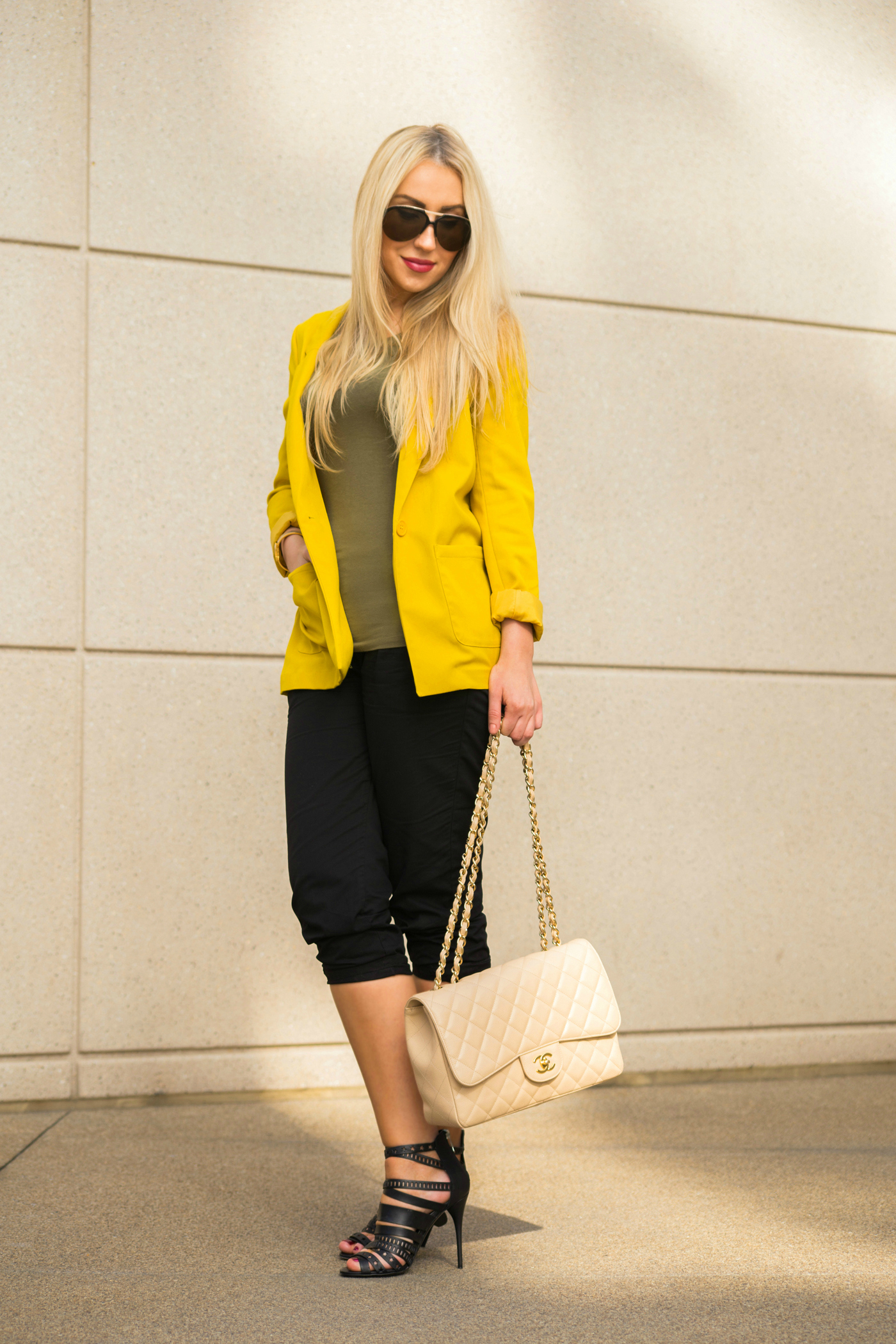 yellow and black outfit,yellow blazer,khaki t-shirt,balmain shoes,cage sandals,gladiator sandals