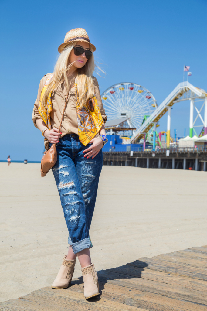 zara boyfriend jeans,tan blouse,beach outfit, beach brunch outfit 2014,tan booties,honey hues outfit