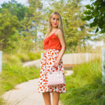 alai a studded cut-out lace-up nude sandals,asos skirt,coral cami,coral and pink outfit,how to wear coral and pink