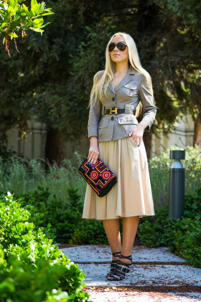 antic batik clutch,antic batik basra clutch,safari trend,how to wear safari trend,caged sandals,hermes belt,midi skirt 2014,fall trends 2014