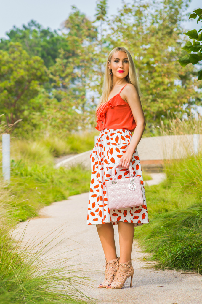 asos lips print midi skirt,coral lips,alaia shoes,alaia studded booties,single dress camisole,alaia lace ups,lady dior bag,coral silk camisole,dior addict fluid stick
