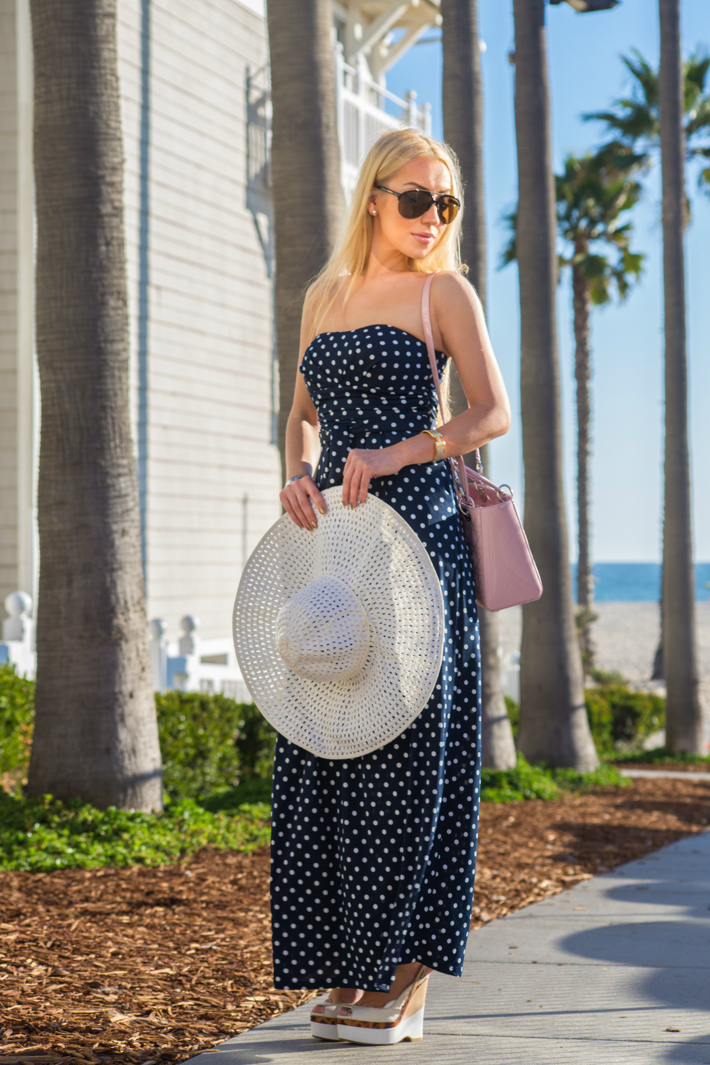 beach outfit 2014,beach outfit inspiration,H&M hat,polka dot maxi dress,what to wear to the coast,brunch outfit inspiration,gucci shoes,dior bag
