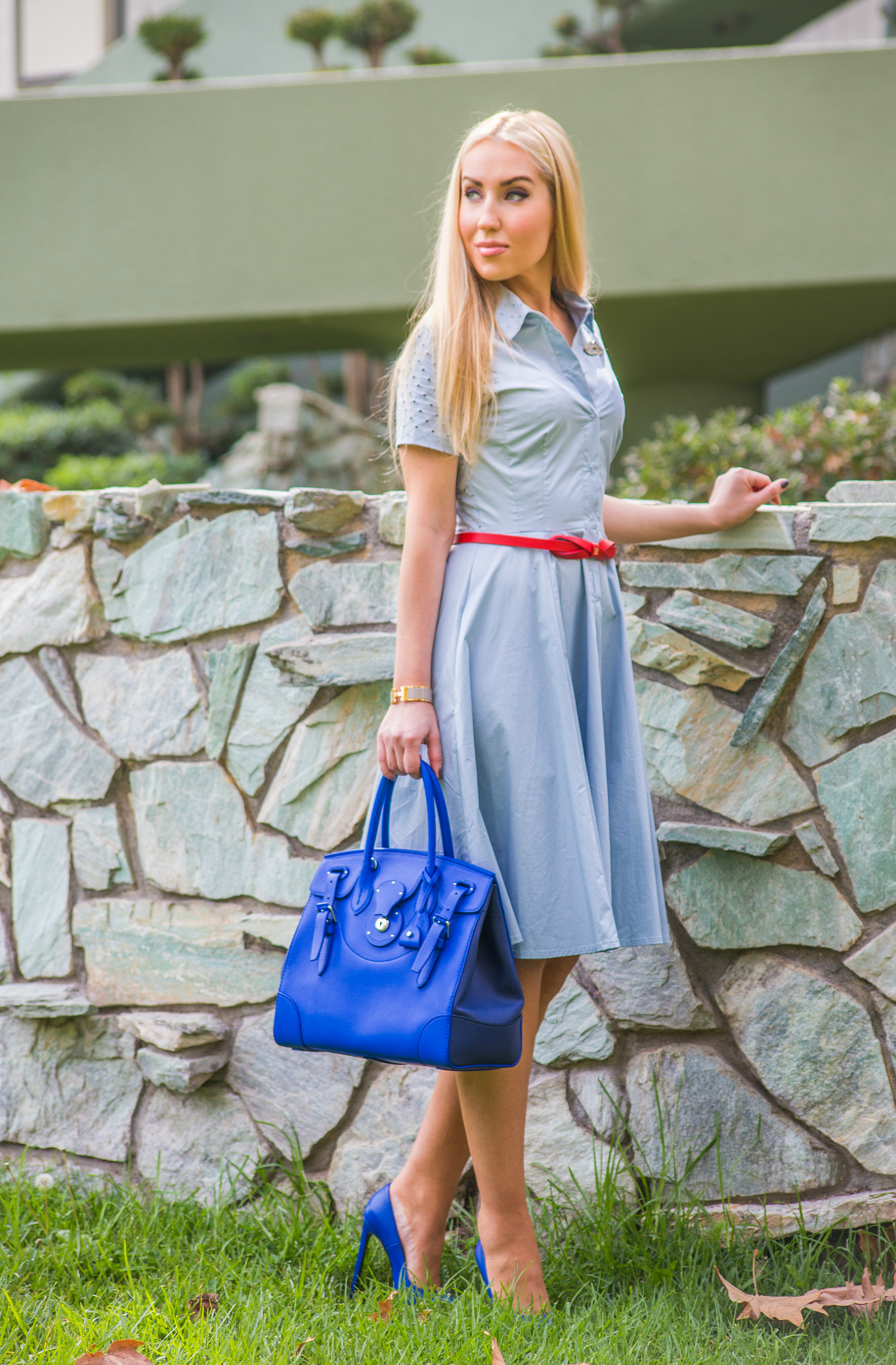 blue navy and red outfit