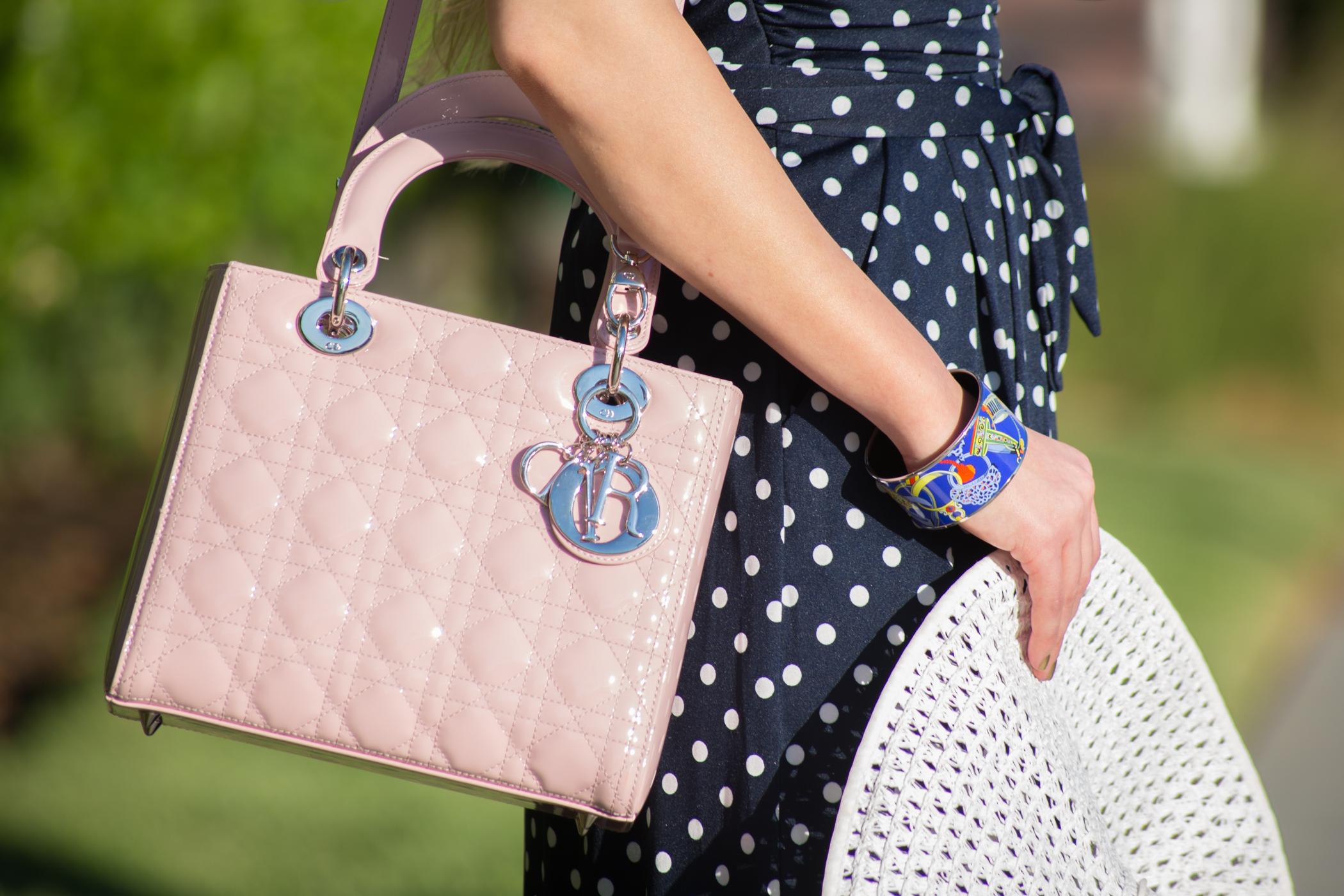 lady dior bag pink,polka dot dress,polka dot and pink,hermes bracelet