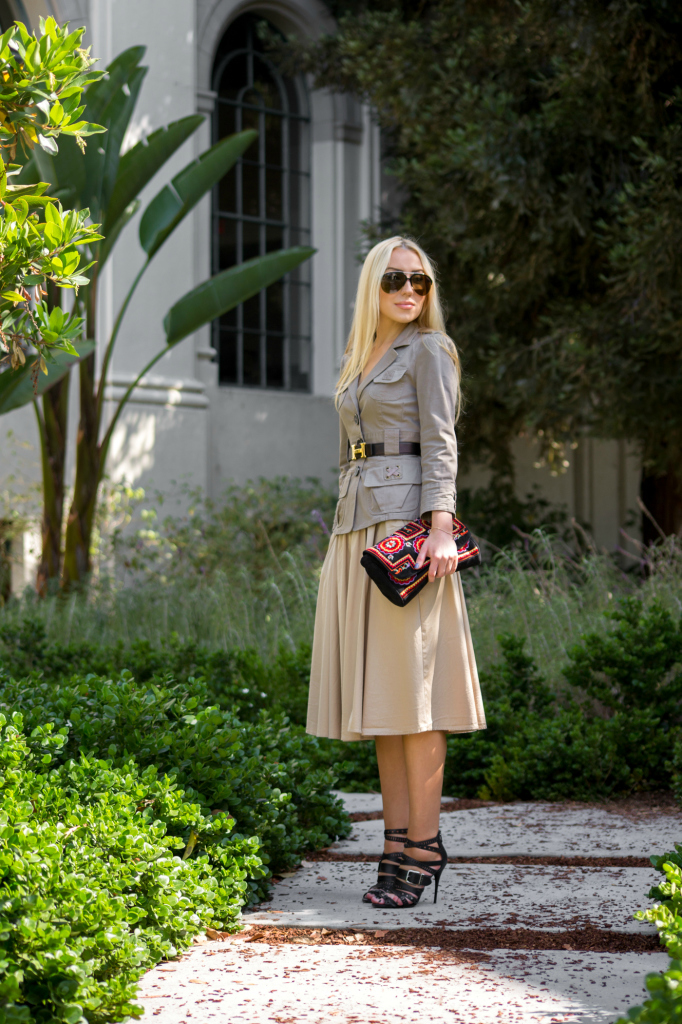 neutral tone outfit idea,zara midi skirt 2014,balmain sandals,antik batik bag