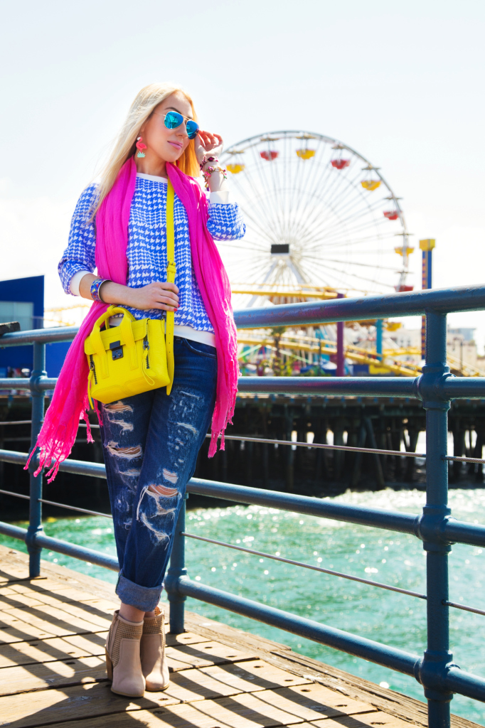 Ray Ban Mirror Aviators, zara jeans 2014,flamingo earrings,phillip lim pashli mini yellow,pink and blue outfit,pink love,splatter paint,pink love,pink scarf,chunky heel boots,3.1 PHILLIP LIM Mini Pashli Satchel,flamingo love