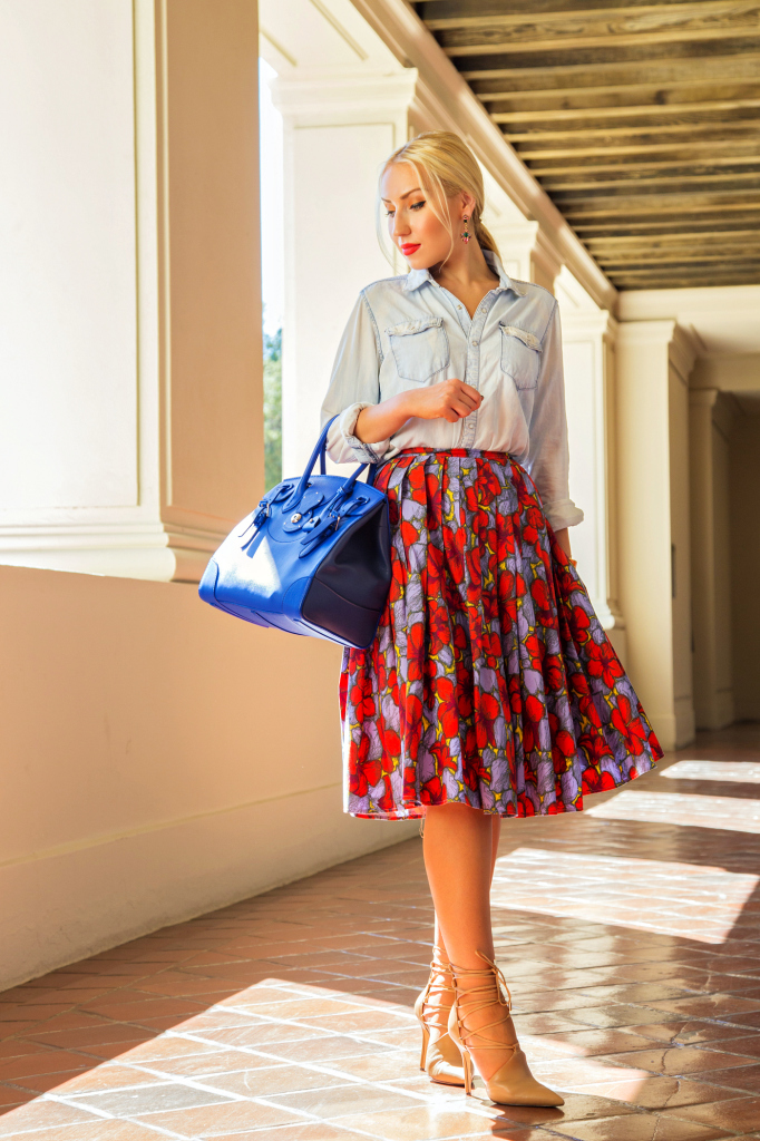 rachel roy anni lace up pumps,H&M midi skirt,H&M denim shirt,ralph lauren soft ricky bag,cobalt bag,denim shirt outfit,H&M skirt outfit,denim shirt and skirt outfit,ricky bag,dior butterfly,floral midi skirt,
