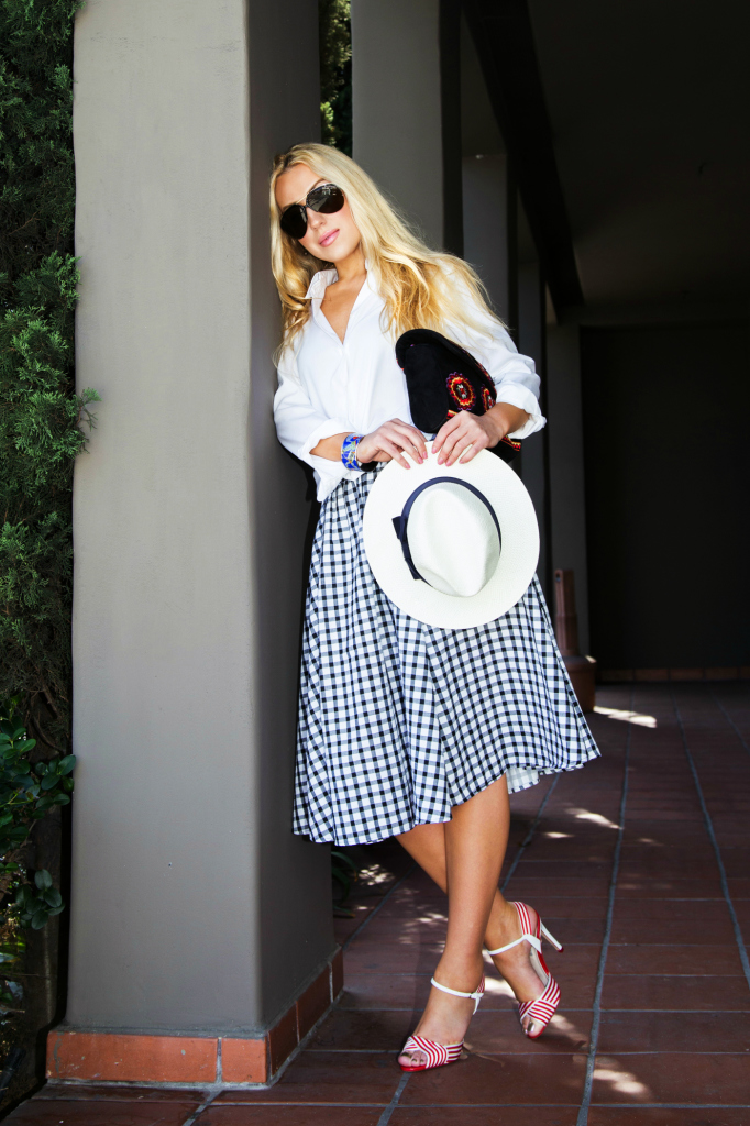 zara gingham dress,l.k. bennett Colette Heeled Sandals,plaid skirt 2014,white panama hat outfit,antik batik badra bag,white shirt with checked,white shirt and midi skirt outfit