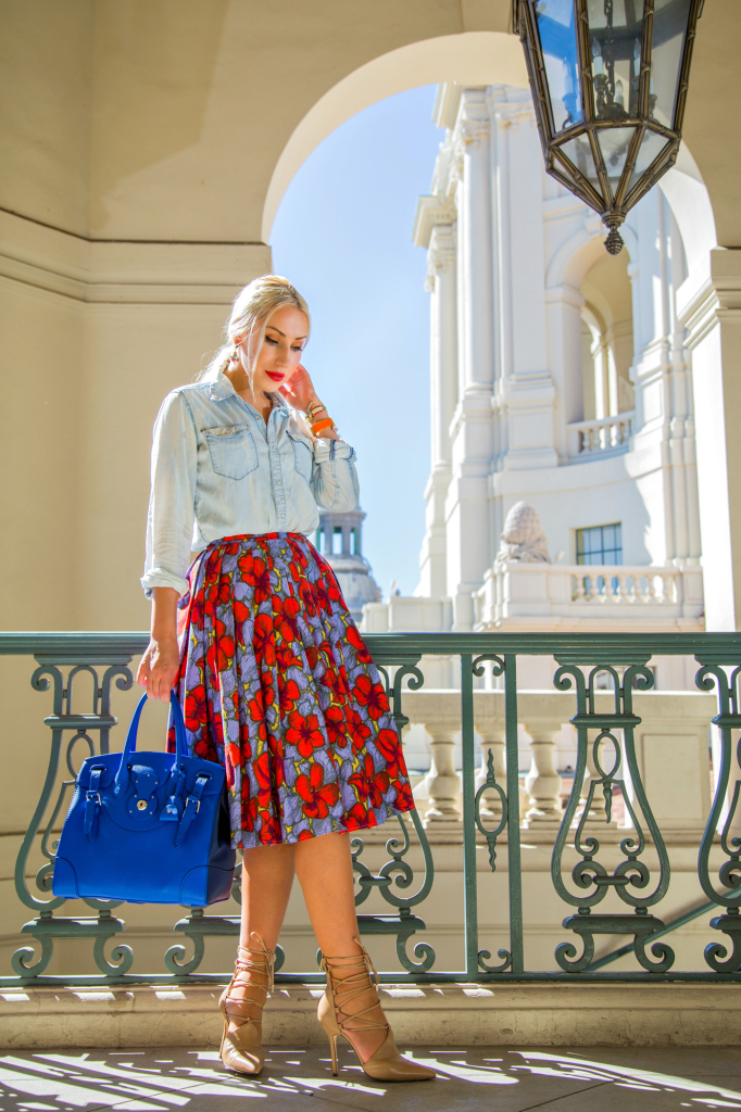 rachel roy anni lace up pumps,H&M midi skirt,H&M denim shirt,ralph lauren soft ricky bag,cobalt bag,denim shirt outfit,H&M skirt outfit,denim shirt and skirt outfit,ricky bag,dior butterfly,floral midi skirt,fall floral