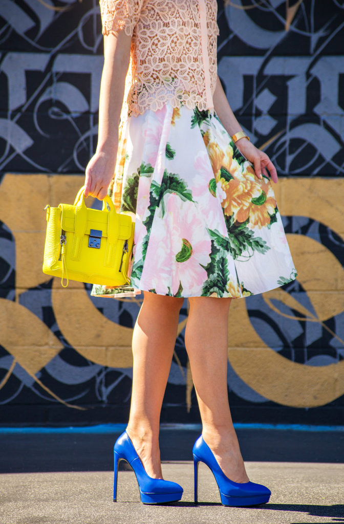 pastel and blue outfit,3.1 phillip lim pashli mini yellow, topshop floral midi skirt, zara lace top, bow barrette,saint laurent janis pump,blue and yellow