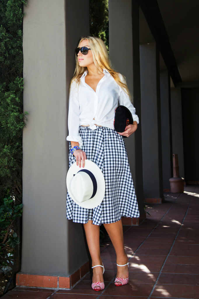 zara gingham dress,l.k. bennett Colette Heeled Sandals,plaid skirt 2014,white panama hat outfit,gingham,antik batik badra bag,white shirt with checked,white shirt and midi skirt outfit