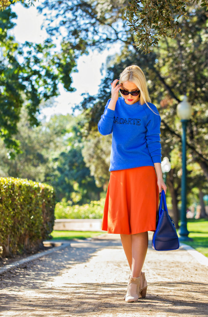 Rodarte Sweatshirt,Orange and blue outfit,Orange and cobalt,fall color blocking,H&M midi skirt,Radarte Sweater,Fall Colors,Ralph Lauren Soft Ricky Bag, Tom Ford Nikita Cat's-Eye Sunglasses,cobalt sweater
