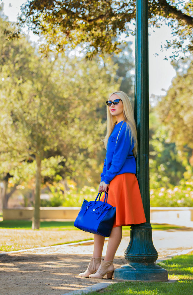 Rodarte Sweatshirt,Orange and blue outfit,Orange and cobalt,fall color blocking,H&M midi skirt,Radarte Sweater,Fall Colors,Ralph Lauren Soft Ricky Bag, Tom Ford Nikita Cat's-Eye Sunglasses