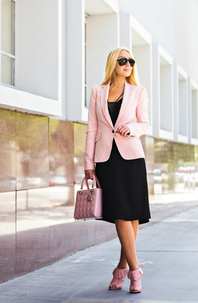 Job Interview outfit,Pink and black outfit,Day to night outfit,Zara Blazer,Pink Blazer,Work-outfit-ideas,lk bennett riley sandals,office fashion,LBD,H&M Crêpe Dress,pink shoes and lady dior bag