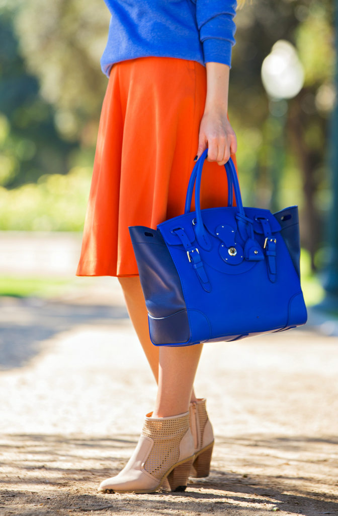 Rodarte Sweatshirt,Orange and blue outfit,Orange and cobalt,fall color blocking,H&M midi skirt,Radarte Sweater,Fall Colors,Ralph Lauren Soft Ricky Bag, Tom Ford Nikita Cat's-Eye Sunglasses,cobalt bag