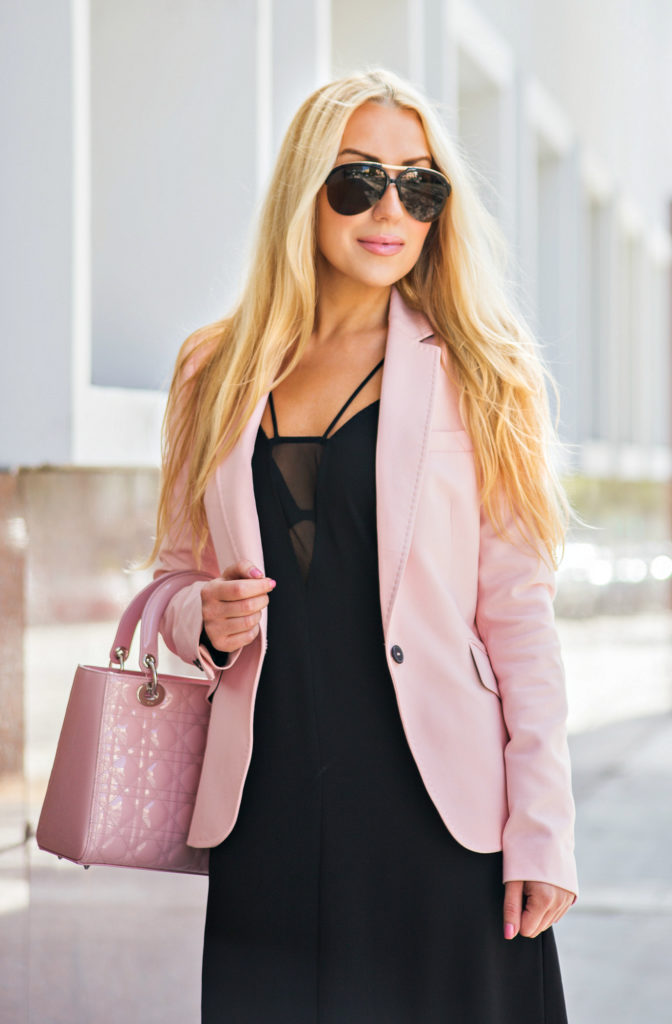 Job Interview outfit,Pink and black outfit,Zara Blazer,Pink Blazer,Work-outfit-ideas,lk bennett riley sandals,office fashion,LBD,H&M Crêpe Dress,pink shoes and lady dior bag