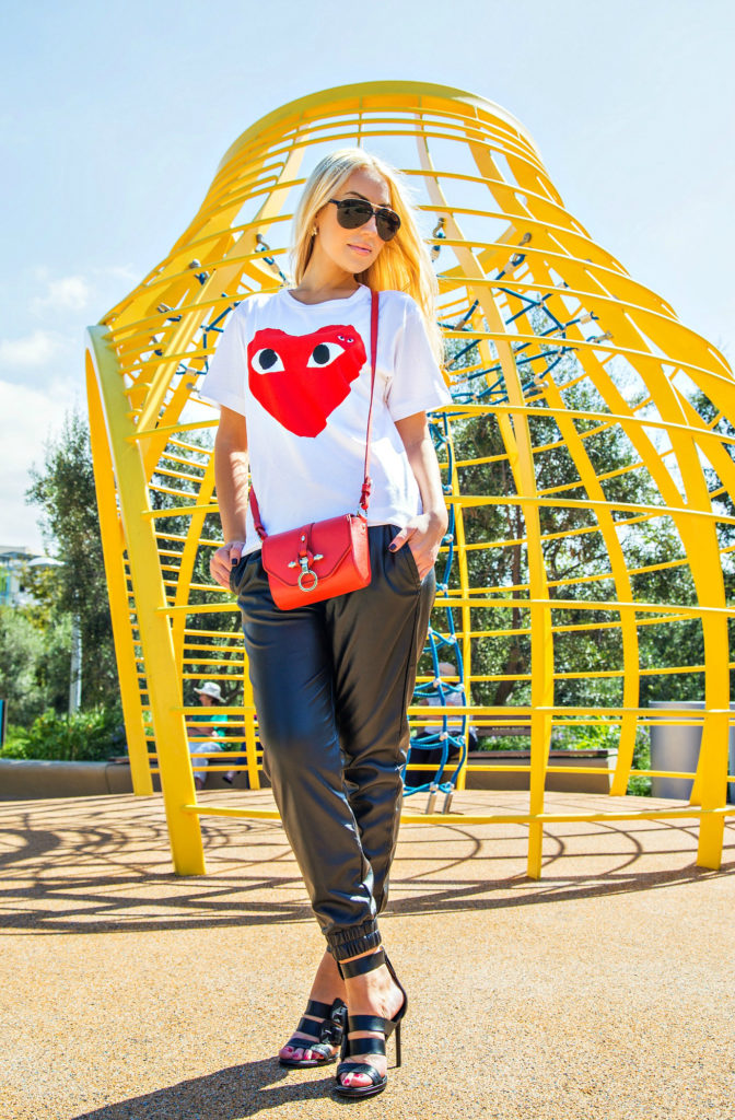 comme des garcons play shirt,rachel zoe shoes,i see you,comme des garcons play t-shirt,rachel zoe macey sandals,black red and white outfit,faux leather jogger pants,t-shirt with a heart,logo t-shirt