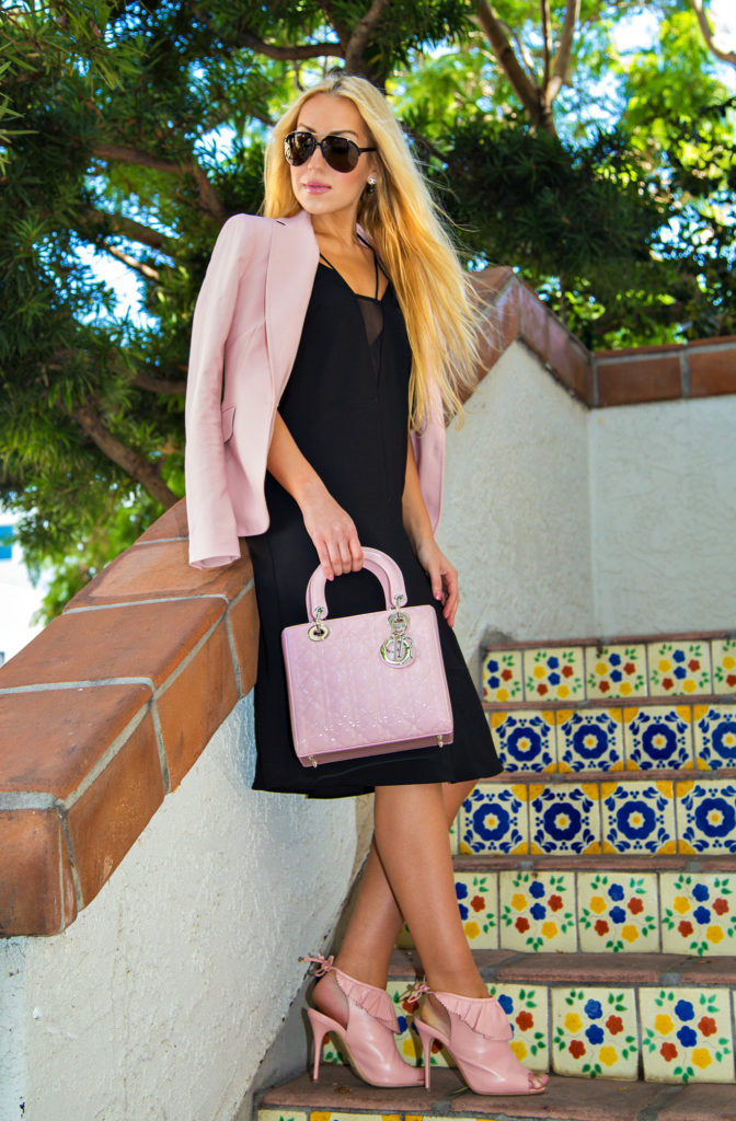 Job Interview outfit,Pink and black outfit,Zara Blazer,buxom kimberly, Pink Blazer,Work-outfit-ideas,lk bennett riley sandals,office fashion,LBD,H&M Crêpe Dress,pink shoes and lady dior bag