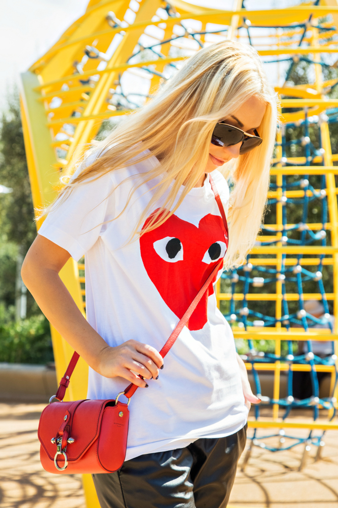 comme des garcons play shirt,rachel zoe shoes,comme des garcons play t-shirt,rachel zoe macey sandals,black red and white outfit,faux leather jogger pants,t-shirt with a heart,logo t-shirt