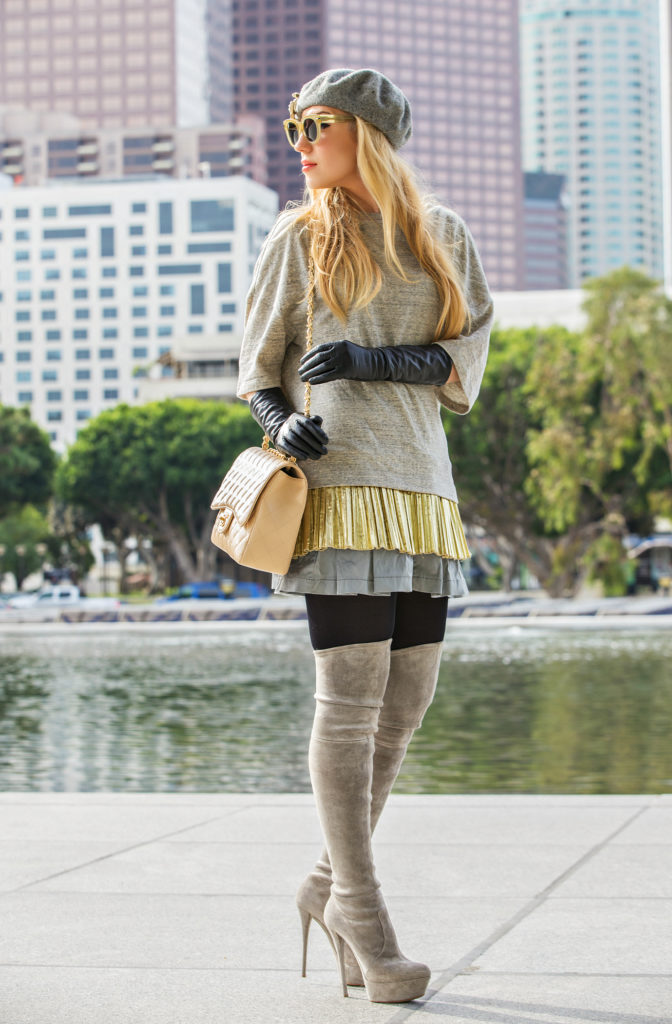 Grey outfit,Casadei Over the knee boots,Grey and gold outfit,Foil Top,Chanel bag outfit,Beret Outfit,Chanel Brooch,Casadei boots,Celine sunglasses,Otk boots and chanel,dries van noten,beret outfit idea