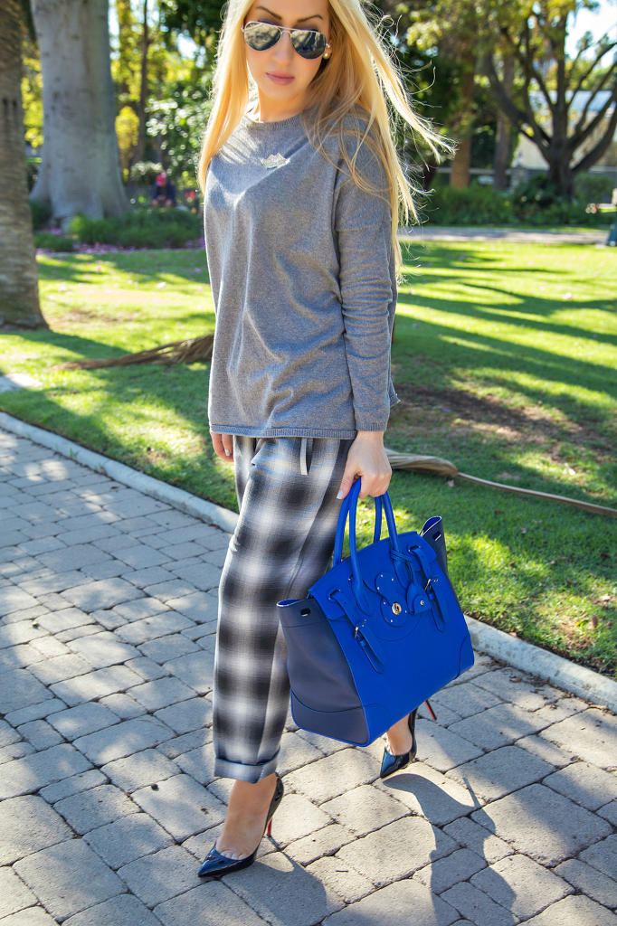 Plaid pants,Ray- Ban Mirrored Original Aviator Sunglasses,sonia rykiel pin,Plaid and grey outfit,Gray and Blue outfit,Soft Ricky Bag,christian louboutin pigalle pumps,Zara Sweater,Royal blue bag,H&M Pants, H&M trend pants