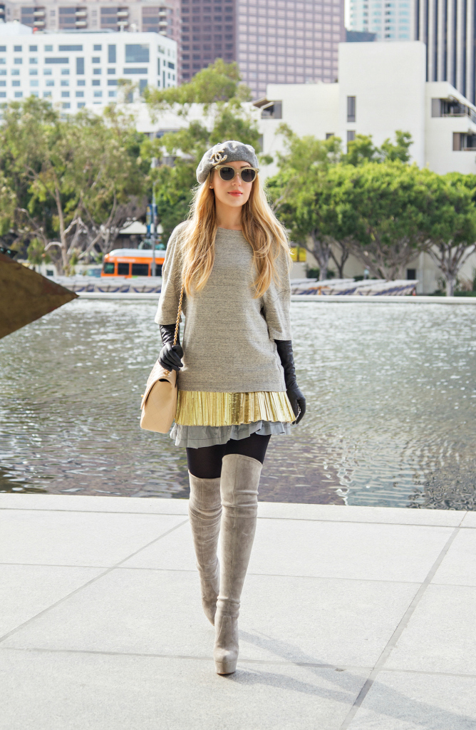 Grey outfit,Casadei Over the knee boots,Grey and gold outfit,Foil Top,Chanel bag outfit,Beret Outfit,Chanel Brooch,Casadei boots,Celine sunglasses,Otk boots and chanel,dries van noten,how to wear beret