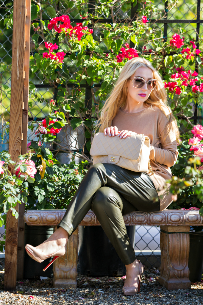 Beige and Green Outfit,Pigalle beige,H&M faux leather pants,chloe sunglasses,Zara Sweater,H&M Pants,Christian Louboutin Pigalle Plato Beige