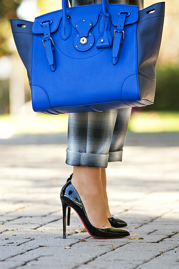 Plaid pants,Plaid and grey outfit,cobalt bag,Gray and Blue outfit,christian louboutin piglet pumps,Soft Ricky Bag,Zara Sweater,Royal blue bag,H&M Pants, H&M trend pants