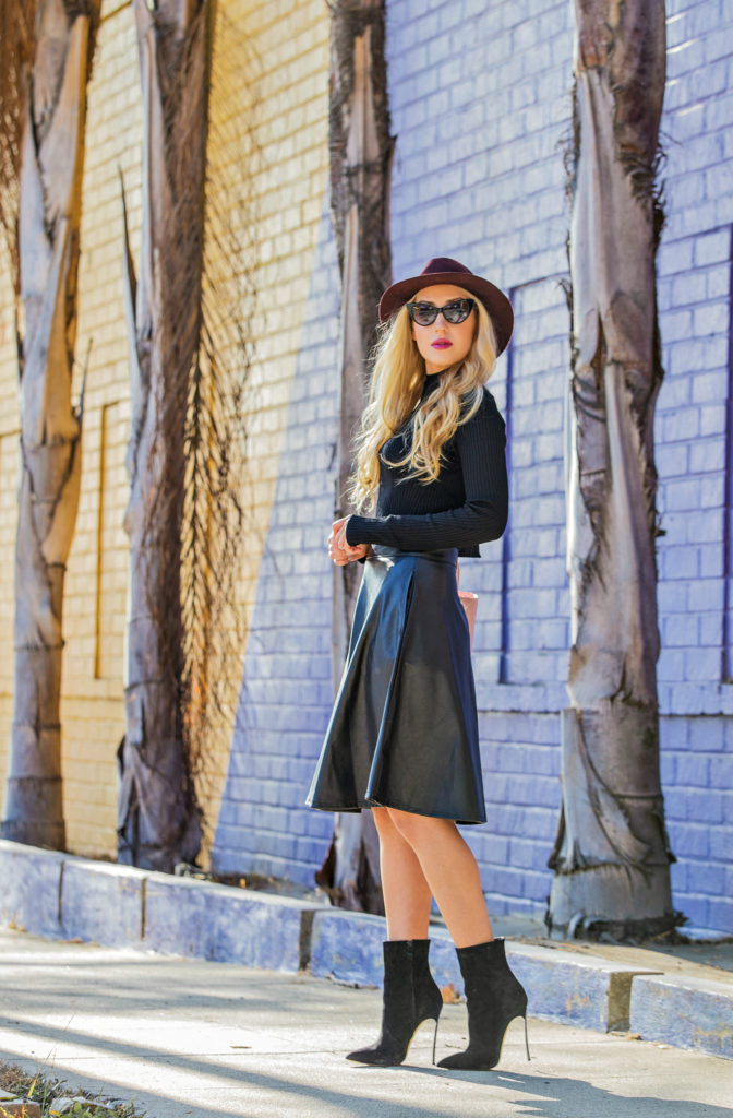 casadei blade boots,black cropped sweater,rag and bone fedora hat,bordeaux hat,tom ford nikita cat eye sunglasses,casadei booties,faux leather midi skirt,zara cropped sweater,lady dior bag,casadei boots and lady dior bag