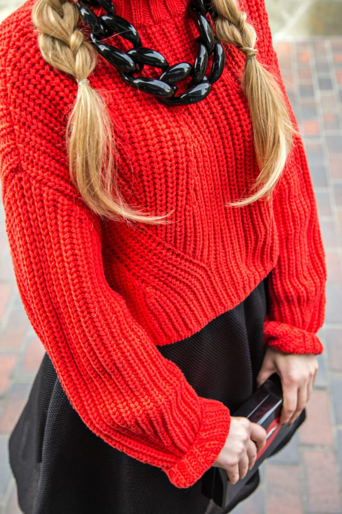 H&M Trend sweater,H&M Skirt,Charlotte Olympia Pandora Clutch,Charlotte Olympia Clutch ,Tom Ford Nikita Sunglasses,Eugenia Kim Jessa hat,Charlotte Olympia Lips Clutch,Diana Broussard Nate Necklace,Black And Red outfit,Charlotte Olympia Lip Clutch,Kiss Me Clutch,Valentines Day Outfit 2015