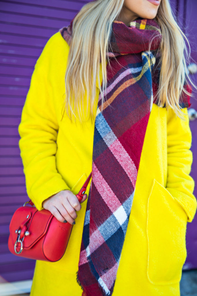 Rag and Bone Boots,Yellow and Red Outfit,Neon Coat,All Saints Beanie,Zara Checkered Scarf,Givenchy Obsedia Bag,Check scarf and beanie,Zara scarf,rag and bone harrow boots,all saints beanie,zara check scarf,zara plaid scarf,color pop