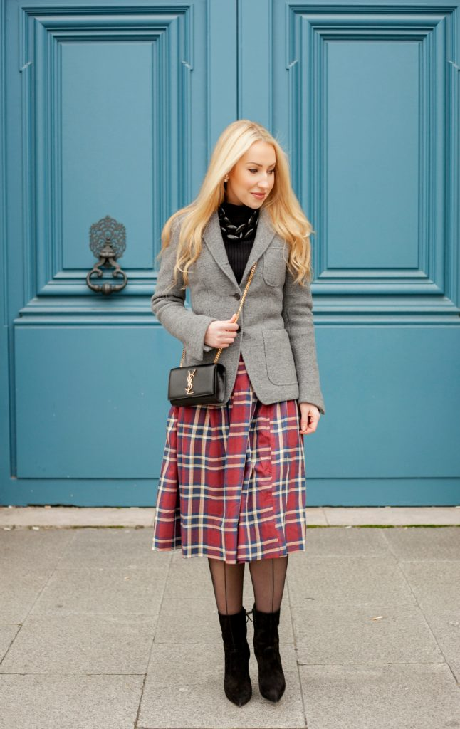 Place Vendome Fashion Photoshoot,Saint Laurent Monogram Bag,Casadei Boots,Casadei Blade Boots,Place Vendome,Diana Broussard Nate,Grey and Black Look,Asos Plaid Skirt,Grey with Plaid Outfit,Diana Broussard Nate Necklace,Brooks Brothers Coat,Saint Laurent Bag,Parisian Winter Tales