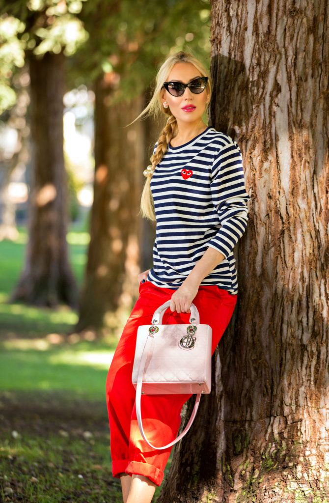 comme des garcons play shirt,Nautical Outfit,Navy and Red outfit,Nautical Trend,Stripes and red outfit,Stripes and Pearls,comme des garcons play t-shirt,Christian Dior Lady Dior Medium Pink Bag,tom ford nikita sunglasses,On A Warmer Note