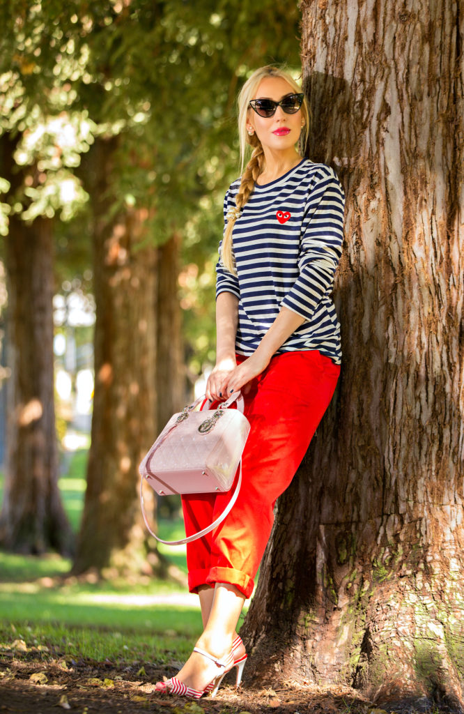 comme des garcons play shirt,On A Warmer Note,Nautical Outfit,Navy and Red outfit,Nautical Trend,Stripes and red outfit,Stripes and Pearls,comme des garcons play t-shirt,Christian Dior Lady Dior Medium Pink Bag, tom ford nikita sunglasses