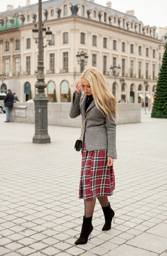 Place Vendome Fashion Photoshoot,Parisian Winter Tales I,Parisian Winter TalesSaint Laurent Monogram Bag,Casadei Boots,Casadei Blade Boots,Place Vendome,Diana Broussard Nate,Grey and Black Look,Asos Plaid Skirt,Grey with Plaid Outfit,Diana Broussard Nate Necklace,Brooks Brothers Coat,Saint Laurent Bag