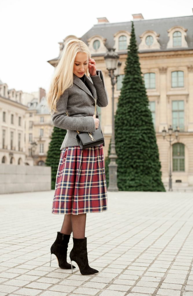 Place Vendome Fashion Photoshoot,Parisian Winter Tales,Saint Laurent Monogram Bag,Casadei Boots,Casadei Blade Boots,Place Vendome,Diana Broussard Nate,Grey and Black Look,Asos Plaid Skirt,Grey with Plaid Outfit,Diana Broussard Nate Necklace,Brooks Brothers Coat,Saint Laurent Bag