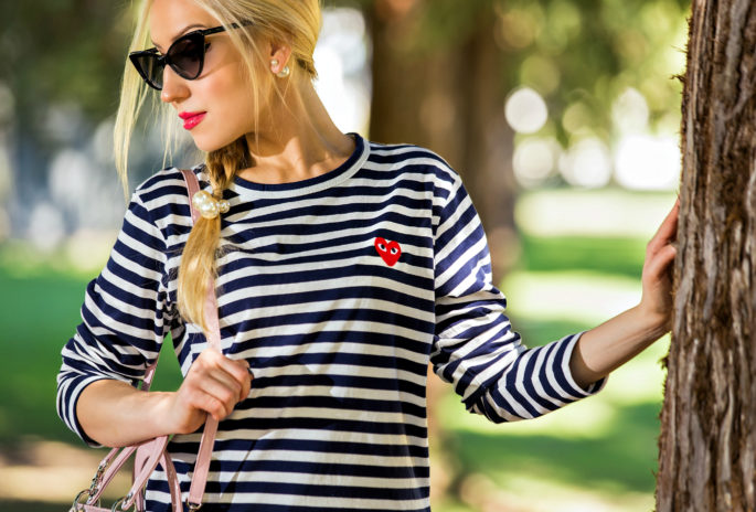 comme des garcons play shirt,Nautical Outfit,Navy and Red outfit,Nautical Trend,Stripes and red outfit,Stripes and Pearls,comme des garcons play t-shirt,Christian Dior Lady Dior Medium Pink Bag,tom ford nikita sunglasses