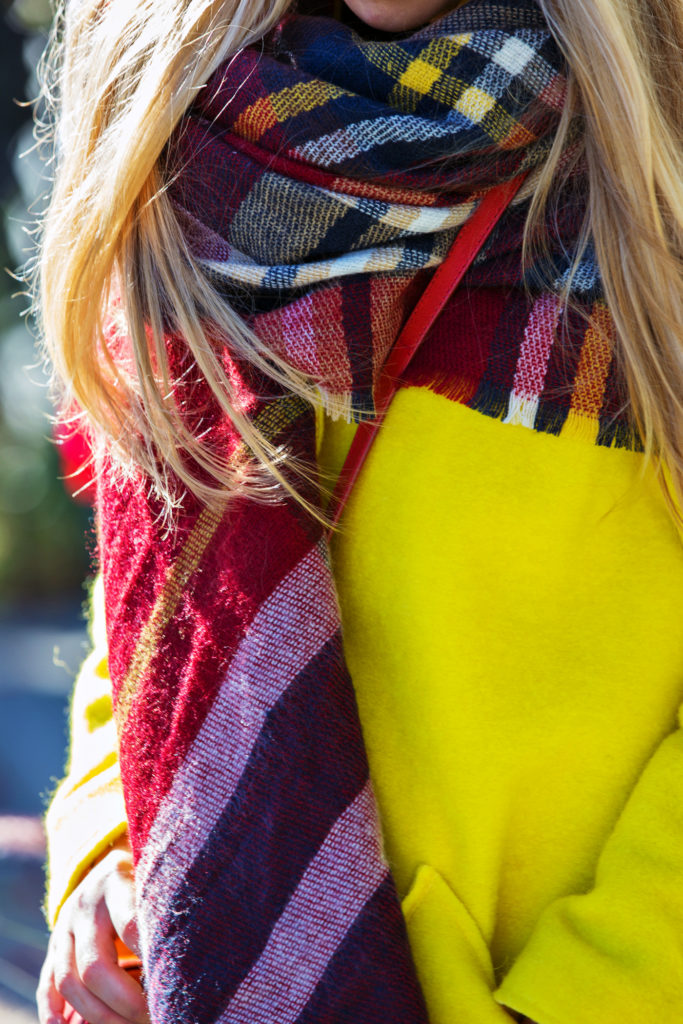 Rag and Bone Boots,Yellow and Red Outfit,Neon Coat,All Saints Beanie,Zara Checkered Scarf,Givenchy Obsedia Bag,Check scarf and beanie,Zara scarf,rag and bone harrow boots,all saints beanie,zara check scarf,zara plaid scarf