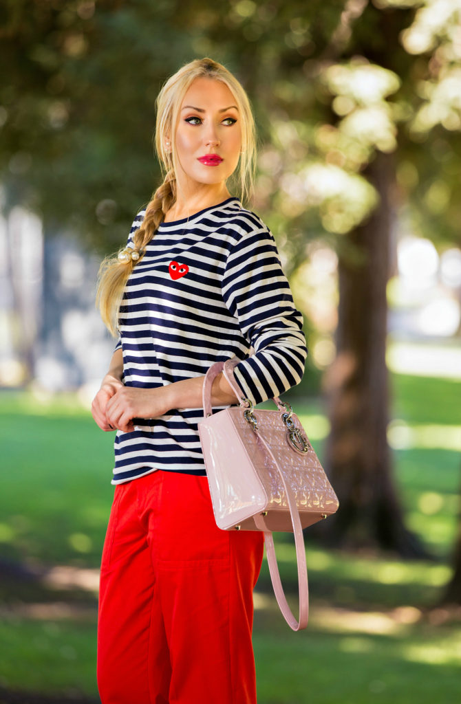 comme des garcons play shirt,Nautical Outfit,Navy and Red outfit,Nautical Trend,Stripes and red outfit,Stripes and Pearls,comme des garcons play t-shirt,Christian Dior Lady Dior Medium Pink Bag