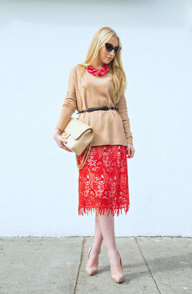 Red and Beige Outfit,Beige and Red outfit,Red Lace skirt,Chanel Jumbo caviar,Red and Tan,MCGM Skirt,Red Lace,Diana Broussard Nate Necklace,Red and Tan Outfit, MSGM Lace dress,Christian Louboutin Pigalle, Christian Louboutin and Chanel, Dior Butterfly,Bow Belt