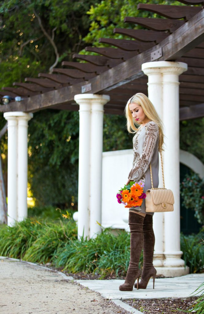 Casadei Over the Knee Boots,Beige Outfit with Boots,Beige Valentine,Chanel Bag with OTK Boots,Hale Bob Dress,Beige Dress,What to wear on Valentines  Day,Brown suede OTK Boots,Valentine Day Outfit Idea,Suede OTK Boots,Valentine Day Flowers,Chanel Jumbo Bag,Beige Valentines Day Outfit