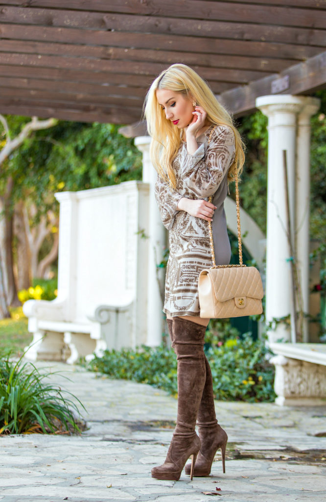 Casadei Over the Knee Boots,Beige Outfit with Boots,Chanel Bag with OTK Boots,Hale Bob Dress,Beige Dress,What to wear on Valentines  Day,Brown suede OTK Boots,Valentine Day Outfit Idea,Suede OTK Boots,Valentine Day Flowers,Chanel Jumbo Bag