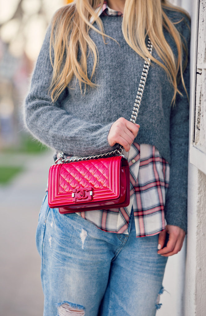 Maje Sweater,Boyfriend Jeans with Chanel Bag Look,Boyfriend Jeans and Plaid Shirt Look,Chanel Boy Bag,Red Chanel Boy Bag,Zara Boyfriend Jeans and Sweater Look,Ripped Boyfriend Jeans,Golden Hour in LA,Red Chanel bag,Iro Kansas Booties
