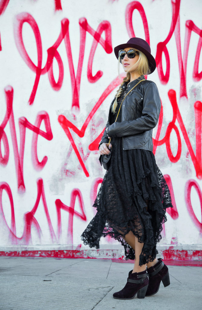 Love Wall,Lace and Leather Outfit,Free People Lace Dress,Saint laurent Bag,Dita Lyon Sunglasses,Love Wall LA,Free People French Court Slip dress,Fedora Hat with Braid,Rag And Bone Fedora Hat,Lace and Braids,Rag and Bone Harrow Boots,Love Me Love Me