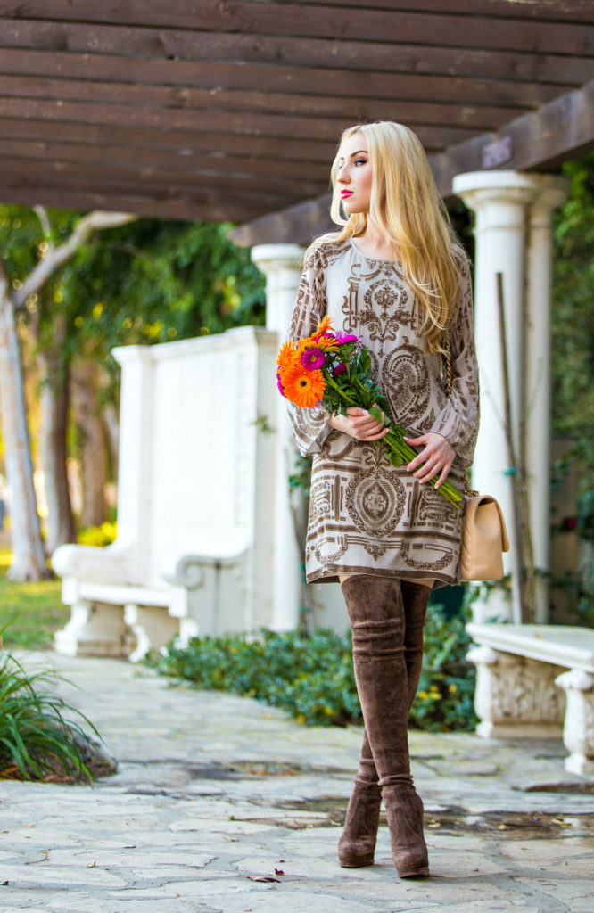 Casadei Over the Knee Boots,Beige Valentine,Beige Outfit with Boots,Chanel Bag with OTK Boots,Hale Bob Dress,Beige Dress,What to wear on Valentines  Day,Brown suede OTK Boots,Valentine Day Outfit Idea,Suede OTK Boots,Valentine Day Flowers,Chanel Jumbo Bag,Beige Valentines day Outfit