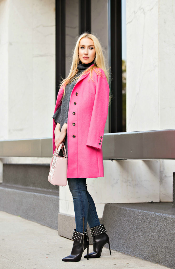 How to wear pink coat,Lanvin Love Necklace,Pink Coat,Lanvin Necklace,Rag and Bone Jeans,Grey and Pink outfit,Pink and Grey,Saint Laurent paris Boots,Love Necklace Lanvin,Pink Coat and Grey Sweater,Zara Sweater,Pink Lady Dior Bag,Lanvin Love,On Wednesdays We Wear,Kuna Coat