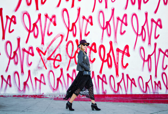 Love Wall,Lace and Leather Outfit,Free People Lace Dress,Saint laurent Bag,Dita Lyon Sunglasses,Love Wall LA,Free People French Court Slip dress,Fedora Hat with Braid,Rag And Bone Fedora Hat,Lace and Braids,Rag and Bone Harrow Boots