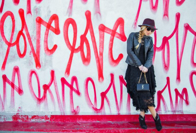 Love Me Love Me,Love Wall,Lace and Leather Outfit,Free People Lace Dress,Saint laurent Bag,Dita Lyon Sunglasses,Love Wall LA,Free People French Court Slip dress,Fedora Hat with Braid,Rag And Bone Fedora Hat,Lace and Braids,Rag and Bone Harrow Boots